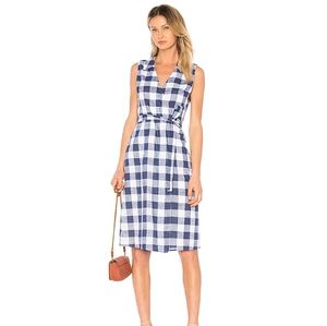 NWT L'Academie Sleeveless Navy Gingham Wrap Dress